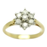 Stunning 18Ct Gold 0.34 CTW Diamond Daisy Cluster Ring, Size N 1/2