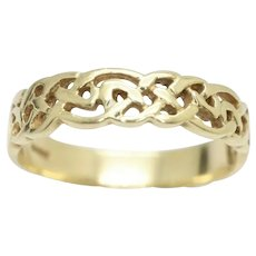 Unisex 9ct Yellow Gold Woven Celtic Knot 5mm Band Ring, Size V