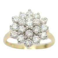Vintage 14ct Gold DQ CZ Cluster Ring, Size P 1/2