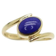 Vintage 9Ct Gold Solitaire Lapis Lazuli Crossover Ring, Size O