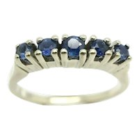 Vintage 14ct White Gold Five Stone Blue Sapphire Half Eternity Ring, Size K