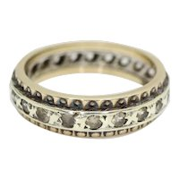 Vintage 9ct Gold Full Eternity Spinel Ring In White and Yellow Gold Size J
