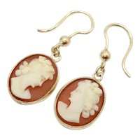Vintage 9Ct Gold Carved Cameo Oval Dangle Drop Earrings