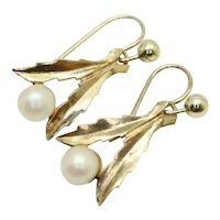 Delicate Vintage 9Ct Yellow Gold Cultured Pearl Dangle Drop Earrings