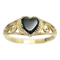 Vintage 9Ct Gold Heart Onyx Filigree Signet Ring, Size N