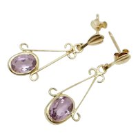 Delicate Vintage 9Ct Yellow Gold 1.3 CTW Amethyst Dangle Drop Earrings