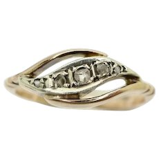 Antique 9Ct Rose Gold 5 Stone Rose Cut Diamond Bypass Ring Size J 1/2