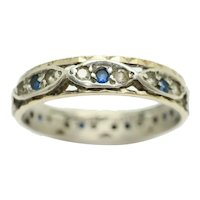 Vintage 9ct Gold & Silver Full Eternity Blue & Clear Spinel Ring Size Q