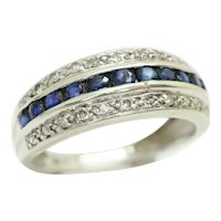 Stunning 9ct White Gold Sapphire and Diamond Eternity Ring, Size L