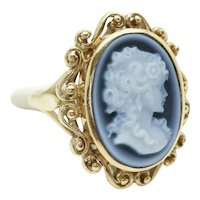 Vintage Ladies 9ct Yellow Gold Large Grey Cameo Dress Ring, Size M