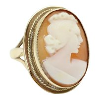 Vintage 1975 Ladies 9ct Yellow Gold Large Cameo Dress Ring, Size N, 7g