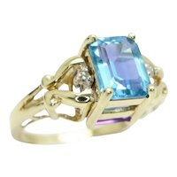 9ct Gold Topaz & Amethyst Diamond Accent Reversible, Flipping Ring, Size Q