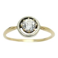 Vintage Art Deco 18Ct Gold Solitaire White Sapphire Engagement Ring, Size N1/2