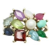 Impressive 9ct Gold Multi Gemstone Cluster Cocktail Ring, Size N