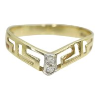 Vintage 14ct Yellow Gold Greek Key CZ Wishbone Band Ring, Size M 1/2