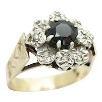 Vintage 1979 9Ct Gold Sapphire & Diamond Flower Cluster Ring, Size O, 4.4g