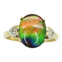 Rare 10Ct Gold 2.5 Ct Ammolite Triplet Spinel Accent Dress Ring, Size N