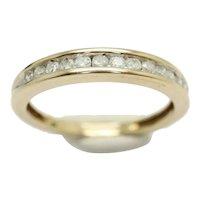 9ct Yellow Gold Channel Set Diamond Half Eternity Wedding Band Ring, Size O