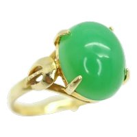 Vintage 18Ct Gold 3.8 Ct Green Jade Cabochon Solitaire Ring, Size O