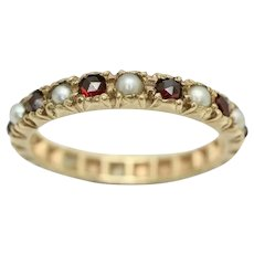 Antique 9Ct Gold Garnet & Seed Pearl Full Eternity Band Ring M 1/2