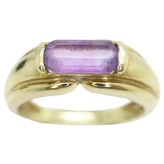 Stunning Vintage 9ct Gold Rectangle Bar Amethyst Signet Style Ring, Size J