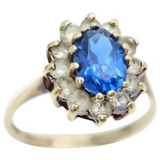 1970 Vintage 9Ct Gold Blue & Clear Spinel Flower Head Cluster Ring, Size N