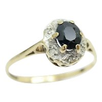 Sweet Vintage 9Ct Gold Sapphire & Diamond Cluster Ring, Size L 1/2