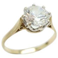 Vintage 9Ct Gold 1.6Ct Clear Cubic Zirconia Solitaire Engagement Ring, Size S