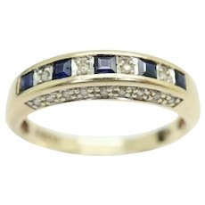 9Ct Gold Sapphire & Diamond Half Eternity Band Ring, Size Q 1/2