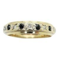 Vintage 9ct Gold Sapphire & Diamond Full Eternity Ring Size K