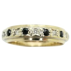 Vintage 9ct Gold Sapphire & Diamond Full Eternity Ring Size K