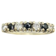 Vintage 9Ct Gold Sapphire & CZ Half Eternity Band Ring, Size O