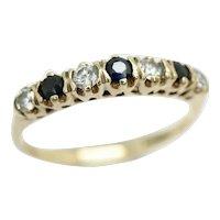 Vintage 1983 9Ct Gold Sapphire & CZ Half Eternity Band Ring, Size K 1/2