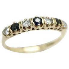 Vintage 1983 9Ct Gold Sapphire & CZ Half Eternity Band Ring, Size K 1/2
