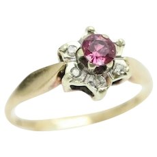 Vintage 1981 9Ct Gold Ruby & Diamond Flower Cluster Ring, Size P 1/2
