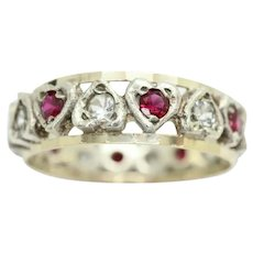 Vintage 9ct Gold & Silver Ruby and Spinel Heart Eternity Ring Size O