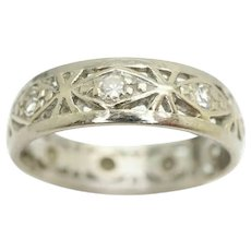 Vintage Art Deco 18Ct White Gold Diamond Full Eternity Ring, Size M 1/2
