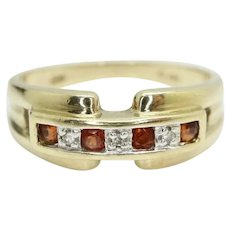 9Ct Gold Garnet & Diamond Half Eternity Style Ring, Size P