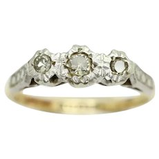 Vintage 18ct Gold & Platinum 0.1 CTW Trilogy Diamond Engagement Ring, Size N