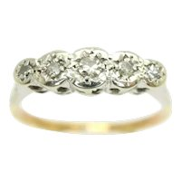 Antique Art Deco 18ct Gold Platinum Five Stone Diamond Ring, Size P 1/2