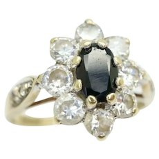 Vintage 9ct Gold Sapphire and CZ Cluster Ring, Size M 1/2