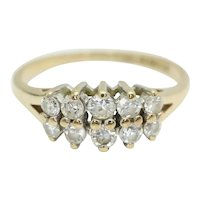 Vintage 1982 9Ct Gold Two Row Cubic Zirconia Half Eternity Ring, Size L 1/2