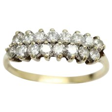 Vintage 9Ct Gold Two Row Cubic Zirconia Half Eternity Ring, Size P 1/2