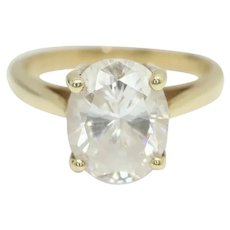 Vintage 9Ct Gold 1.5Ct Clear Cubic Zirconia Solitaire Engagement Ring, Size K