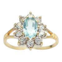 Vintage 9ct Gold 0.6 Ct Blue Topaz and CZ Cluster Ring, Size K