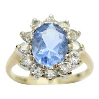 Vintage 9ct Gold 1.4 Ct Blue Spinel and CZ Cluster Ring, Size I