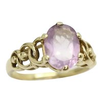 Vintage 9Ct Yellow Gold 1.2Ct Amethyst Decorative Shoulders Ring, Size L