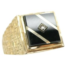 Vintage Mens 9ct Gold Onyx Stripe Diamond Signet Ring, Size V