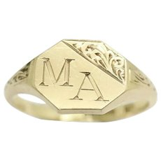 1962 Vintage Unisex 9Ct Yellow Gold 'MA' Initialled Signet Ring, Size M 1/2
