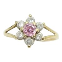 Vintage 9ct Gold Pink and Clear Cubic Zirconia Cluster Daisy Ring, Size M